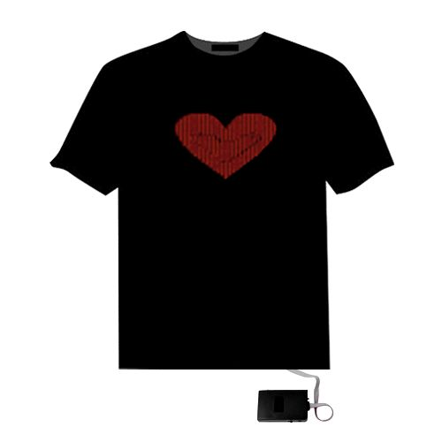 Sound Activated Red Heart El LED Equalizer T Shirt