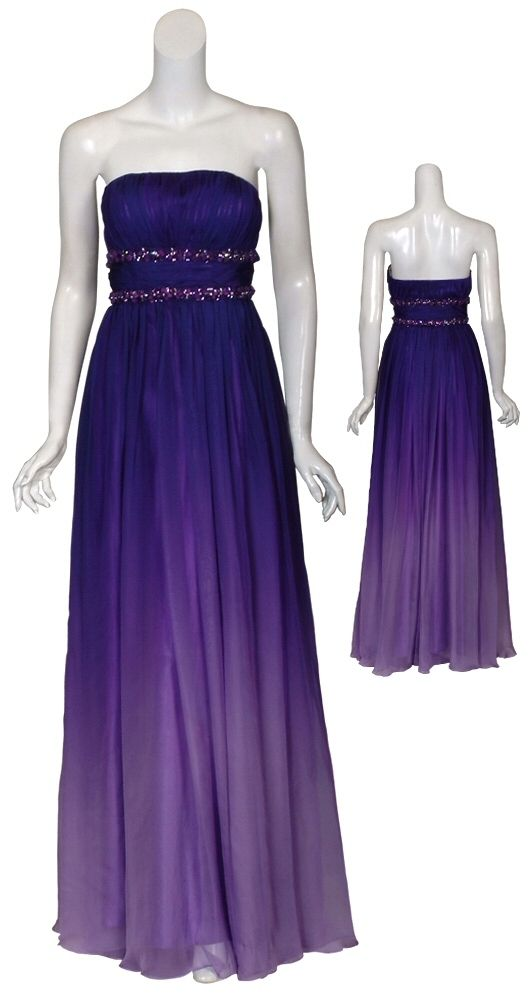 Romantic Ombre Chiffon Rhinestone Beaded Eve Gown Dress 4 New