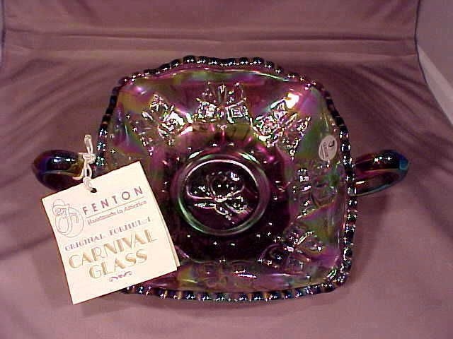 Fenton Purple Carnival Glass Dish with Butterflies