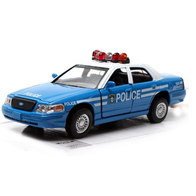 Ford Crown Victoria Police Interceptor 142 Blue & White Diecast 5 in