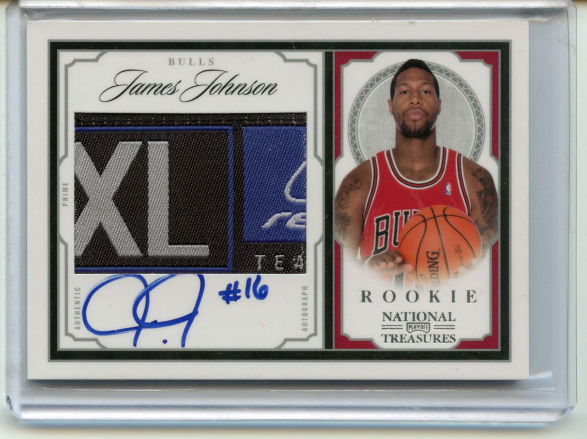 JAMES JOHNSON 09 10 NATIONAL TREASURES AUTO LOGO PATCH ROOKIE 99 RC SP