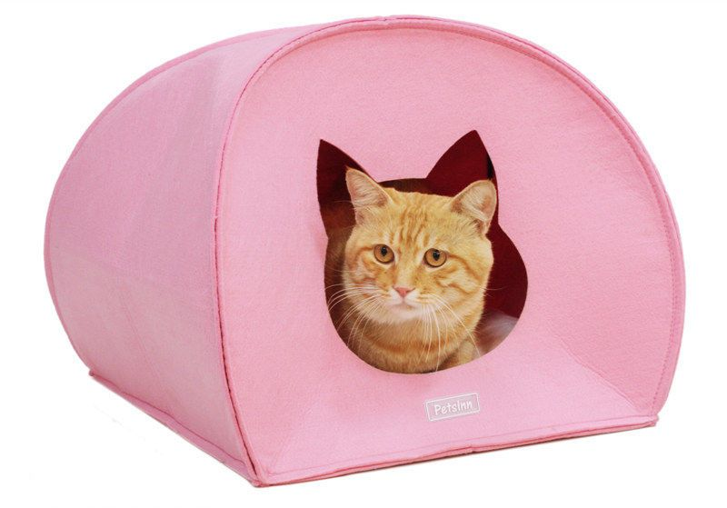 cats bed red and pink lovely felt small colourful pet dog bed cat head