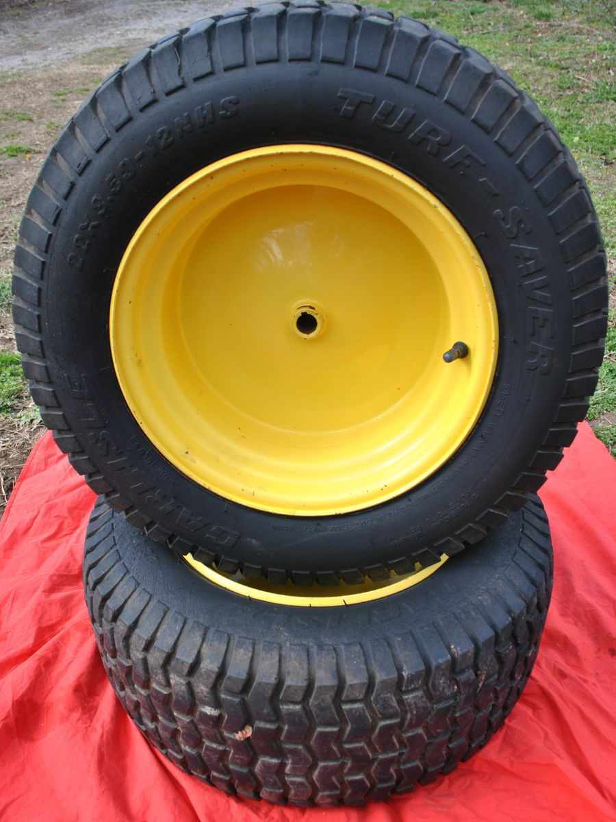 John Deere L120 Rear Tires Wheels Rims 22x9 50 12 Carlisle Turf Saver